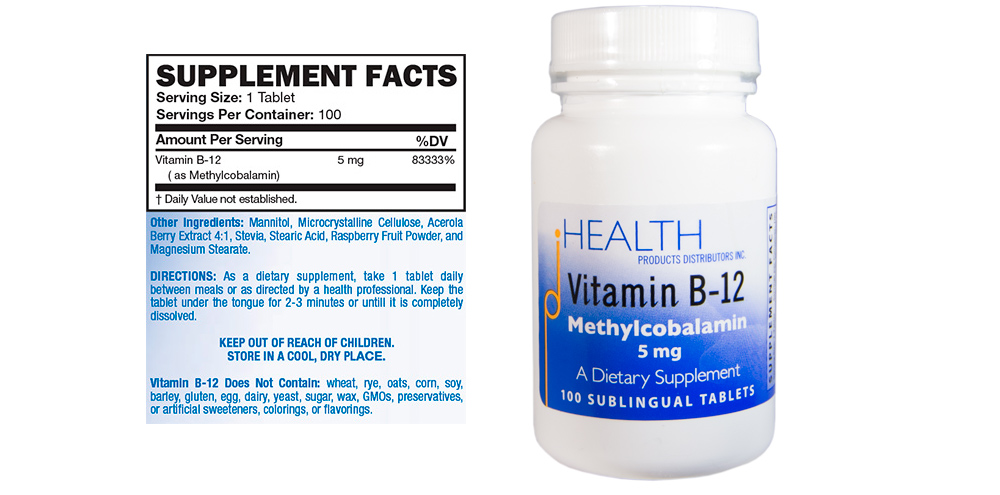 Vitamin B12 – 5 mg methylcobalamin sublingual lozenge