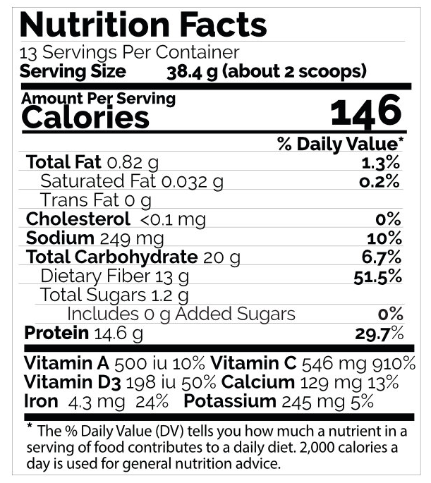 rejuvenate berries & herbs nutrition facts table